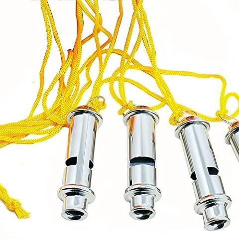 En acier inoxydable haute fréquence en métal grande décibels d'urgence sifflet arbitre Sifflet avec lanière Coach pour l'école sport football Rugby pour chien formation Party
