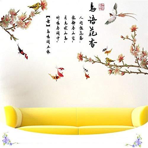 WJuan Adesivi Murali Uccelli Twitter Fragrance Flower Wall Sticker per Camera da Letto Finestra Porta Decorazione della Stanza PVC Murale Rimovibile