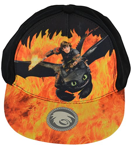 Dreamworks Dragons Ohnezahn & Hicks Flammen Motiv Snapback (verstellbar) Kinder Basecap, Schwarz