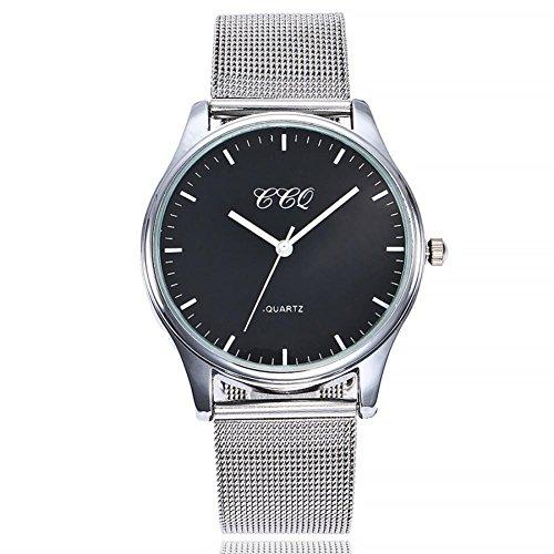Uhren DELLIN Uhren Damen Beiläufige Stahlstreifen Quarz Edelstahl-Band-Marmorband-Uhr-analoge Armbanduhr (B)
