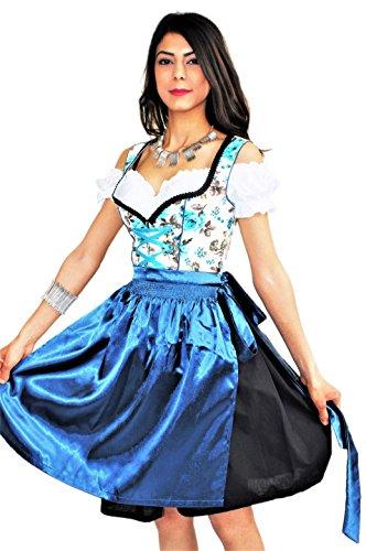 Bavarian Clothes Dirndl Midi Trachtenkleid Kleid 3 tlg -