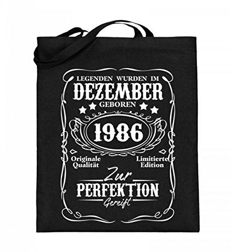 Hochwertiger Jutebeutel (mit langen Henkeln) - Legenden Dezember Geburtstag 1986 Schwarz