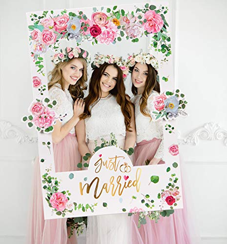 Sayala rosa fiori photo booth matrimonio,wedding photo booth cornice puntelli per matrimonio bridal shower party favore