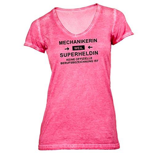 Damen T-Shirt V-Ausschnitt - Mechanikerin Superheldin - Hero Beruf Hellrot