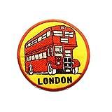 Aufnäher/Bügelbild - Doppeldecker Bus London - rot - Ø6,9 cm - by catch-the-patch Patch Aufbügler Applikationen zum aufbügeln Applikation Patches Flicken