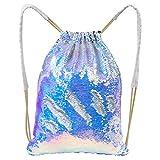 Basumee Pailletten-Rucksäcke, Meerjungfrau-Schnur-Tasche Glänzende Pailletten-Kordelzug-Taschen Glittery Sport-Beutel-Tanz-Taschen Reise-Beutel für Jungen und Mädchen