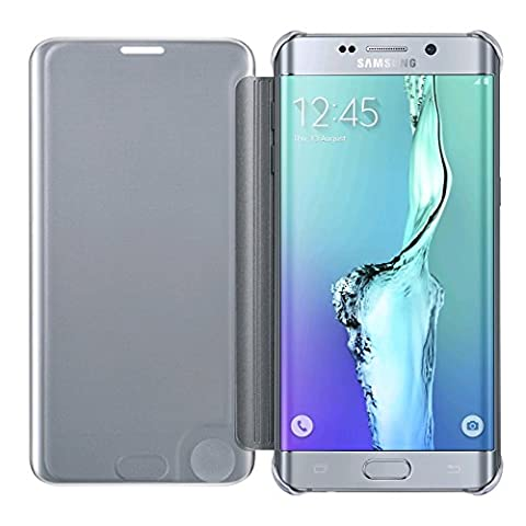 Samsung Galaxy S6 Edge plus+ Clear View Protective Flip Hülle Case Cover, silber