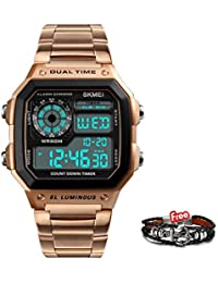 Skmei Rose Gold Digital Multi-Function Digital Watch With Free Bracelet For Men & Boys