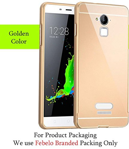 Febelo Branded Metal Alloy Bumper Frame Case with Acrylic Back Cover for Coolpad Note 3 - Gold Color