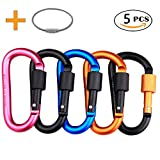 Locking Carabiner, Aluminum D Ring Clip D Shape Super Durable Strong and Light Large Carabiner keyring Keychain Clip for Outdoor Camping Key Chain Heavy Duty Screw Gate Lock Hooks Spring Link (Mixed Color, 5Pack)