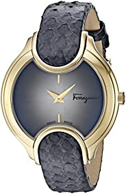 Salvatore Ferragamo Women's Analog Quartz Watch With Leather Strap Fiz020015, Grey