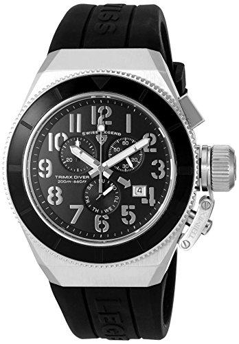 Swiss Legend Men's Trimix Diver Black Silicone Band Steel Case Swiss Quartz Chronograph Watch 13844-01-BB