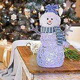 Pupazzo di Neve Luminoso Decorazione di Pupazzo di Neve di Natale 20CM Funziona a Batteria a Colori che Cambia Colore Luce a LED per la Decorazione Domestica Regalo di Natale (1 Pz Blue Hat)