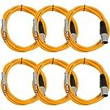 "Seismic Audio Seismic 6 Pack Orange 1/4"" TRS XLR Male 6' Patch Cables Orange - SATRXL-M6Orange6"
