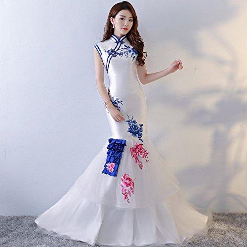 rzellan Fischschwanz Hochzeitskleid Long Tail Braut Cheongsam Runway Lange Bankett Party Host Kostüme,EIN,XXXL (Japanische Braut Kostüm)