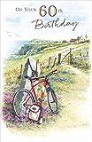 Karten Fülle, Online Alter 60Stecker Geburtstag Karte–Rot Fahrrad, Rucksack, Fernglas & Cliff 22,9x 14,6cm
