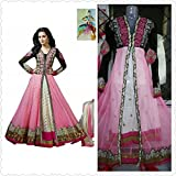 I-Brand Pink Color Net Fabric Embroideried Salwar - Suit (Semi-Stitched)( New Arrival Latest Best Design Beautiful Dresses Material Collection For Women and Girl Party wear Festival wear Special Function Events Wear In Low Price With High Demand Todays Special Offer and Deals with Fancy Designer and Bollywood Collection 2017 Punjabi Anarkali Chudidar Patialas Plazo pattern Suits )