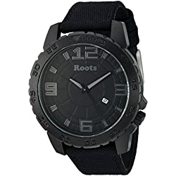 Roots Men's 'Core' Quartz Stainless Steel and Canvas Casual Watch, Color:Black (Model: 1R-LF602BA6B)