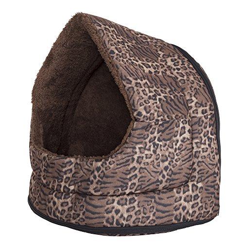 PETMAKER Haustierbett mit Katzenhöhle, Pfotenmotiv, 16.00 x 12.00 x 14.50 Inches, Leopard