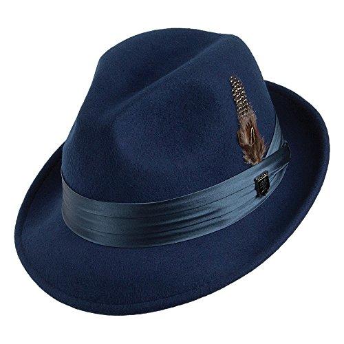 Village Hats Chapeau Trilby Déformable en Laine Feutrée Bleu Roi Stacy Adams