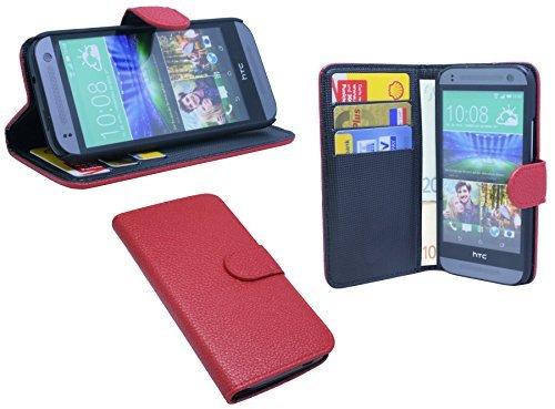ENERGMiX HTC ONE Mini 2 // Buchtasche Hülle Case Tasche Wallet BookStyle mit Standfunktion Rot