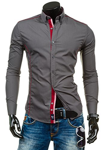 BOLF Langarm Herrenhemd Hemd Slim Fit Casual Freizeit Classic 6875 Dunkelgrau