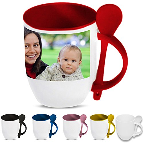 Tazza Ceramica Interno Manico e Cucchiaino Colorati Personalizzata con Tua Foto Nome Frase (Giallo Gialla (Personalizzata Cucchiaio Da Bambino)