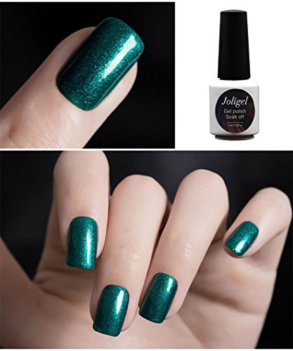 Joligel Esmaltes Semipermanentes Shellac para Uñas con Purpurinas, Sprite cool heart verde fresco (7,3ml)