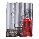 MSV 140598 Duschvorhang, Polyester, Motiv London, 180x200x0,1cm