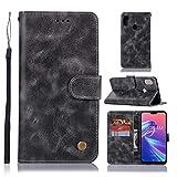 Flip Coque ASUS Zenfone Max Pro (M2) ZB631KL, Housse en Cuir Premium Flip Case Portefeuille Etui, Livre Horizontale, Protection complète pour ASUS Zenfone Max Pro (M2) ZB631KL,Grey