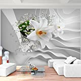 Fototapete Blumen 3D Lilien Weiß Vlies Wand Tapete Wohnzimmer Schlafzimmer Büro Flur Dekoration Wandbilder XXL Moderne Wanddeko Flower 100% MADE IN GERMANY - Runa Tapeten 9179010a