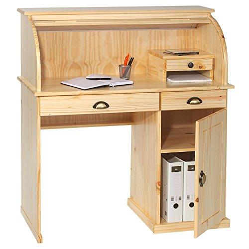 IDIMEX Sekretär Schreibtisch DALLAS Schreibkommode im Landhaustil mit Schubladen und Rolladen, Kiefer massiv natur lackiert