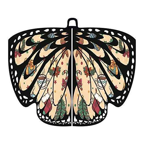 (Alni Damen 168X136CM Weiche Gewebe Pfau Schmetterlings Flügel Schal feenhafte Damen Nymphe Pixie Karneval Cosplay Weihnachten Cosplay Kostüm Zusatz)