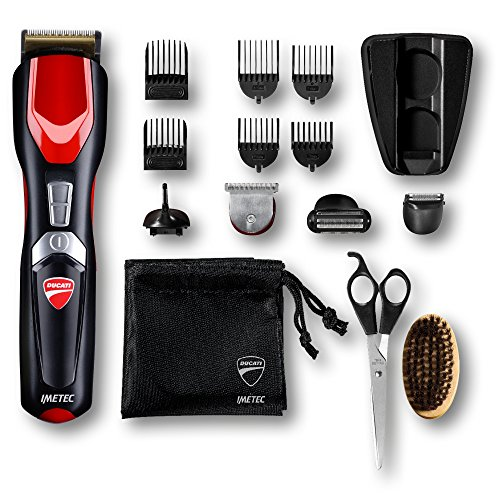 Ducati by imetec kit regolabarba gk 818 race, 16 in 1 per viso e corpo, lame rivestite in titanio, lama extralarge, mini shaver, body shaver, rifinitore di precisione