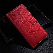 Qiaogle Teléfono Case - Funda de PU Cuero Billetera Clamshell Carcasa Cover para Alcatel Onetouch Idol Alpha OT-6032 / 6032A / 6032X - FC04 / Rojo Moda Elegante estilo