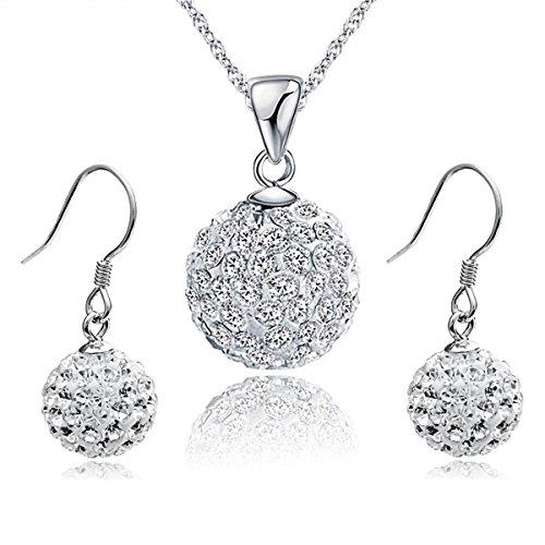 Gilind 925 Sterlingsilber -Disco-Kugel Halskette und Ohrringe Set für Damen + Geschenkbox (Art 2)