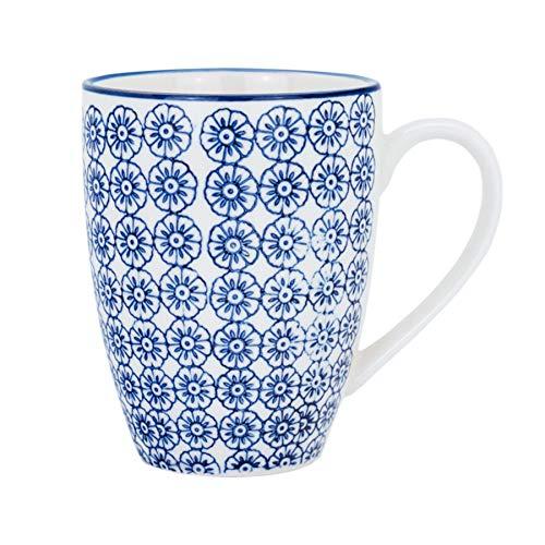 Tasse à café/thé ornée de motifs - 360 ml - imprimé fleur bleue