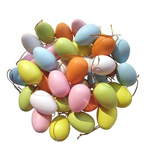 Ornamenti di uova di pasqua, uova di plastica multicolore uova di pittura per bambini fai da te appendere decorazioni di uova di pasqua, 48 pcs