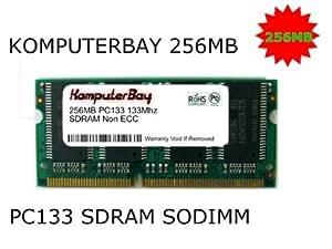 Komputerbay 256MB 133Mhz PC133 SDRAM SODIMM (144 Pin) Laptop RAM 16Mx16x16 (8 Chip-Konfiguration)