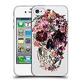 Head Case Designs Offizielle Ali Gulec Schaedel Licht Isoliert Blumig Soft Gel Hülle für iPhone 4 / iPhone 4S