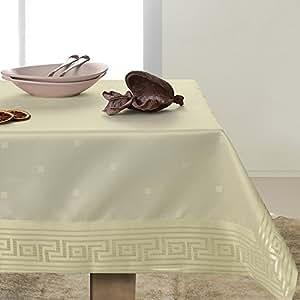 140x300 creme Tischdecke Tischtuch elegant praktisch pflegeleicht mit Borte fleckgeschützt Modern Ares