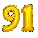 DekoRex® Folienballon Zahlenballon Heliumballon Luftballon Geburtstag Deko 120cm Zahl Gold 91