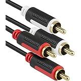 mumbi 0,5 m Câble de Modulation Stéréo Audio Cinch - 2 connecteurs RCA mâles vers 2 connecteurs RCA mâles