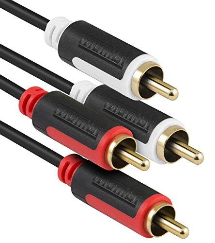 mumbi 1m Stereo Audio Cinch Verbindungskabel - 2x RCA Cinch Stecker auf 2x RCA Cinch Stecker
