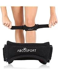 Rodillera Patella - Utilizada para el alivio del dolor de rodilla - Buena para correr, escalar, Fútbol, Básquet, Voleibol y para sentadillas - Ajustable - 1 Pieza - Negra.