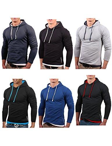 Bents & Mood Slim Fit Hoodie Kapuzenpullover Sweatshirt Hemd Jacke, BM01 Snood/Dunkelgrau
