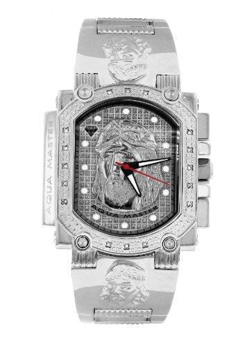 Aqua Master hombres de Jesús esfera especial acero inoxidable juego de reloj, con 16diamantes w # 323j