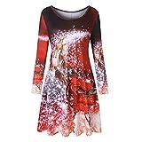 VEMOW Heißer Elegante Damen Abendkleid Vintage Weihnachten Santa Gedruckt Kostüm A-Line Lose Beiläufige Tägliche Party Schaukel Kleid(X2-Rot, EU-40/CN-XL)
