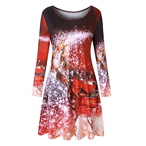 MRULIC Damen Blusenkleid Abendkleid Knielang Kleider Weihnachts Winterrock Festliches Kleid Mehrfarbig Verfügbar Schön Neujahr Herbst und Winter Kleid (EU-34/CN-S, L-Rot)
