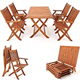 Salon de jardin 'Sydney' 5 pcs en bois d'acacia ensemble table et chaise pliable